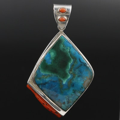 VinCent Sterling Chrysocolla and Coral Pendant with 14K Bezel