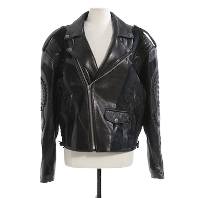 Overland Men's Black Lambskin, Crocodile and Pony Hair Motorcycle Jacket