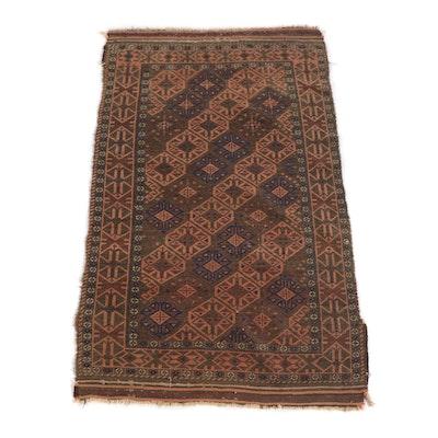 2'7 x 4'2 Handwoven Afghan Baluch Wool Rug