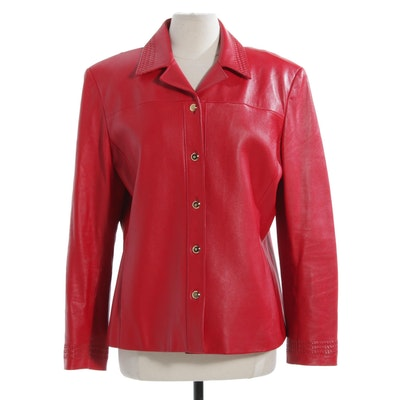 St. John Sport by Marie Gray Red Leather Jacket