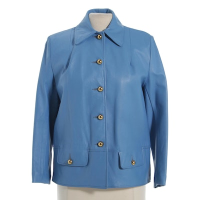 Letty Lee Ltd. Baby Blue Leather Blazer, Vintage