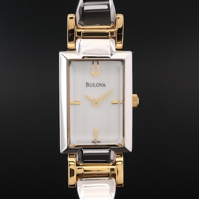 Bulova Bangle Collection Mother of Pearl Dial Two Tone Quartz Wristwatch
