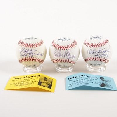Cepeda, Marichal and Fisk Single Signed Baseballs   COAs