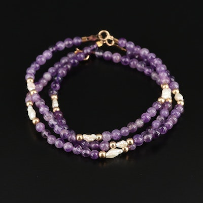 Trio of Amethyst Beaded Bracelets with Pearl Accents and 14K Findings