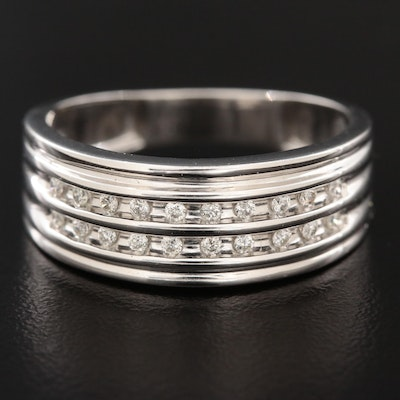 14K White Gold Diamond Double Channel Ring