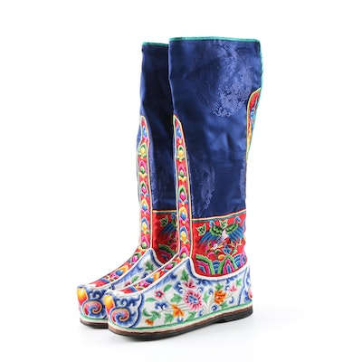 Bhutanese Embroidered Silk Tshog Lhan Boots