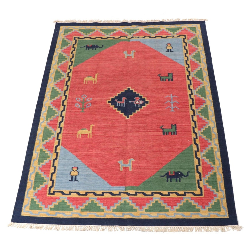 5'7 x 8' Handwoven Turkish Kilim Pictorial Rug