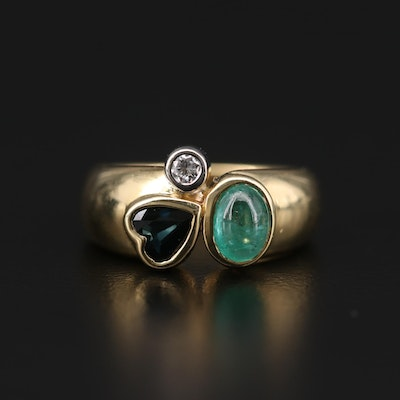 Suzanne St. Claire 18K Yellow Gold 1.16 CT Emerald, Sapphire, and Diamond Ring