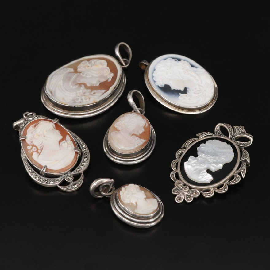 Sterling Cameo Assortment of Pendants, Converter Brooches and Brooches