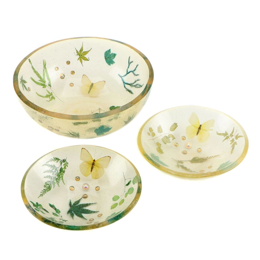 Cased Flora and Fauna Resin Bowls