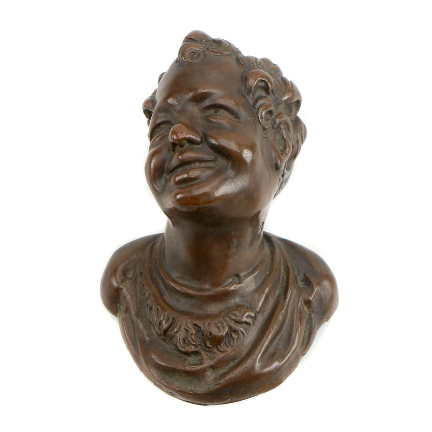 Patinated Cast Metal Wall Mounted Bust
