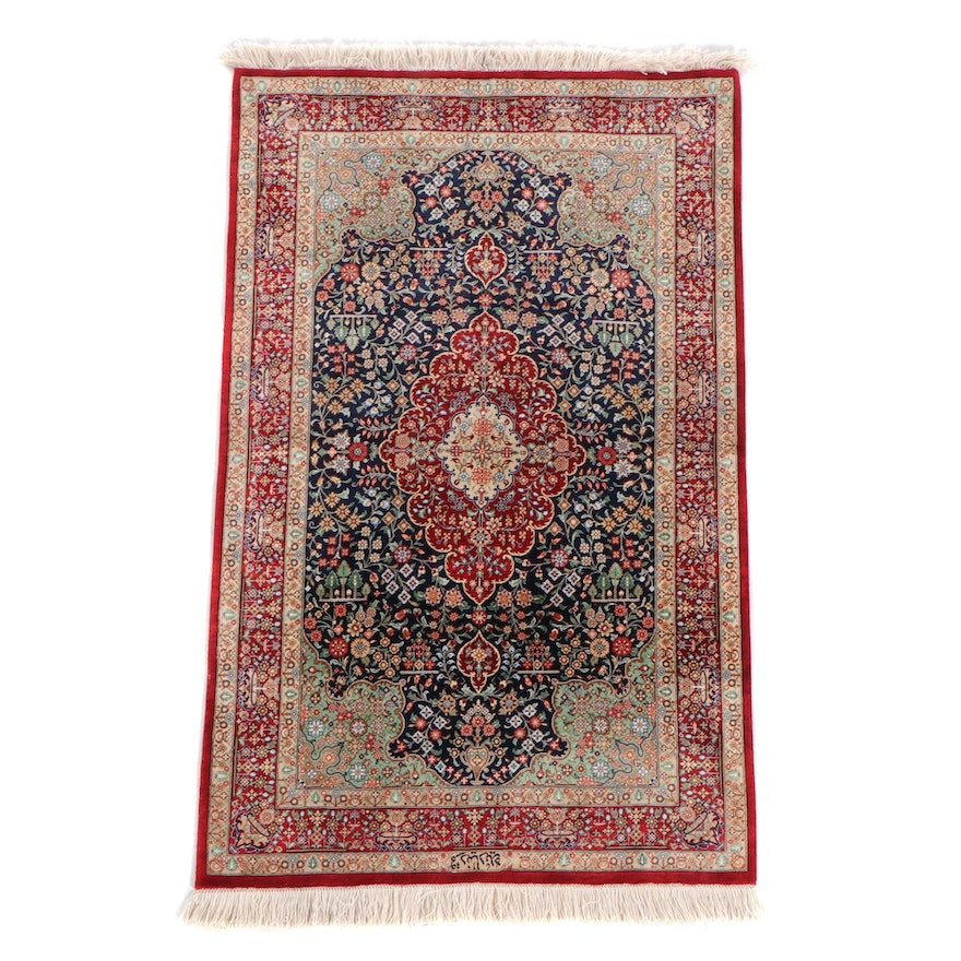 2'5 x 4'3 Hand-Knotted Indo-Persian Kashmir Signed Wool and Silk Accent Rug