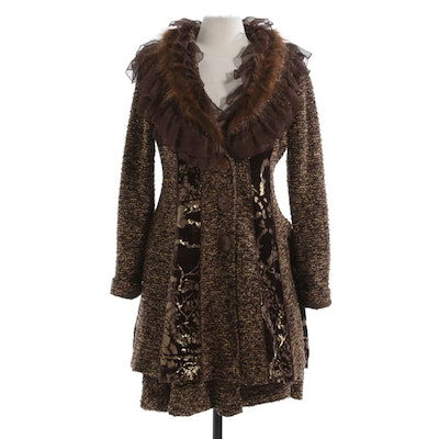 Arec. A Faux Fur and Ruffle Trim Bouclé Knit Jacket