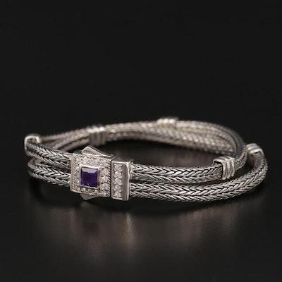 Phillip Gavriel Sterling Amethyst and White Sapphire Double Woven Bracelet