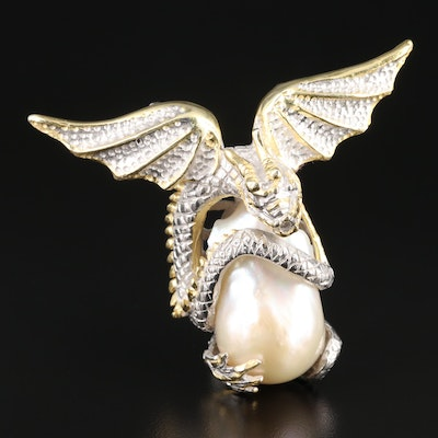 Sterling Silver Cultured Pearl Winged Serpent Pendant