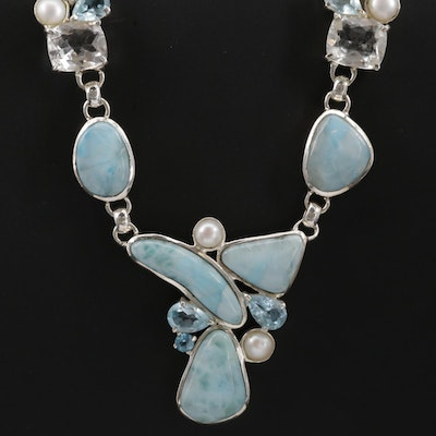 Sterling Silver Larimar, Pearl and Quartz Necklace