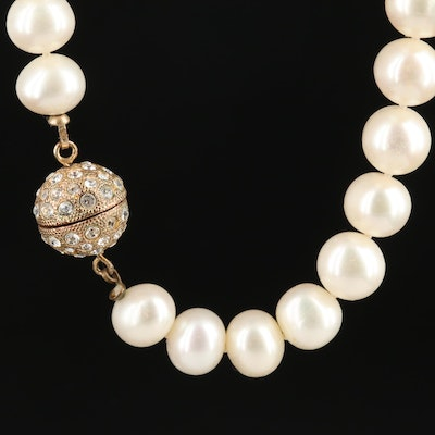 Pearl Strand Necklace Featuring Rhinestone Encrusted Clasp