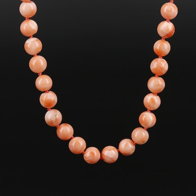 Beaded Coral Necklace With 14K Yellow Gold Clasp