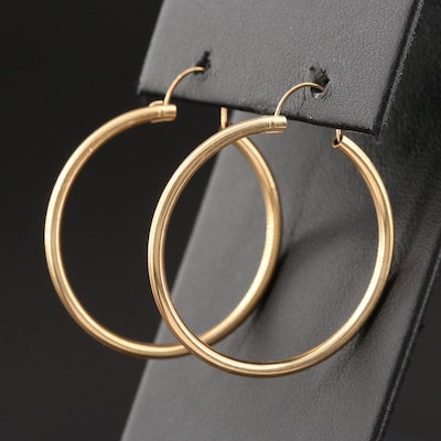 Hoop Earrings with 14K Yellow Gold Hinged Wires