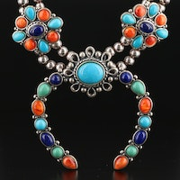 Carolyn Pollack for Relios Sterling Silver Turquoise and Gemstone Necklace