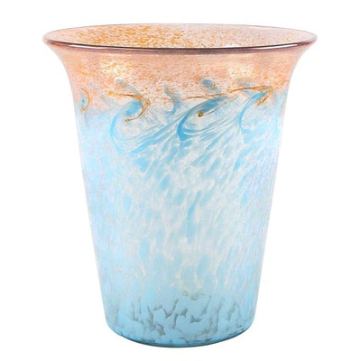 Monart Mottled Blue Art Glass Vase, 20th Century