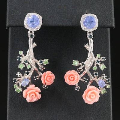 Dangling Sterling Gemstone Earrings with Carved Coral Roses