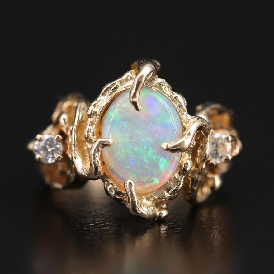 14K Yellow Gold Opal and Diamond Textured Ring