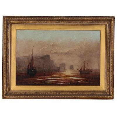 John Lovell Oil Painting of Harbor Scene, Late 19th Century