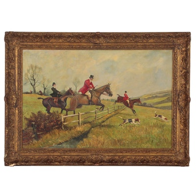 Richard Temple Oil Painting of Hunt Scene