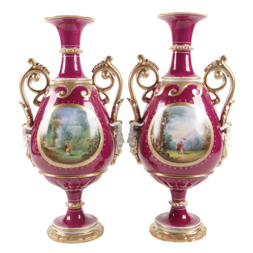 Paris Claret Ground Scene Painted Porcelain and Gilt Vases, 1860-80