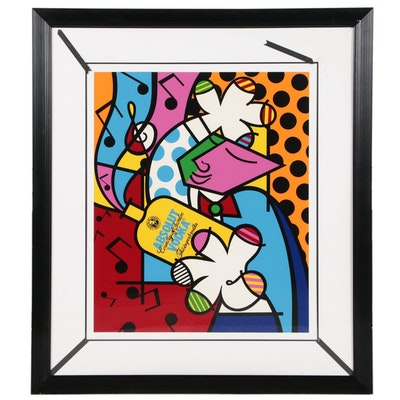 "Romero Britto Pop Art Serigraph ""Absolut Britto II"""