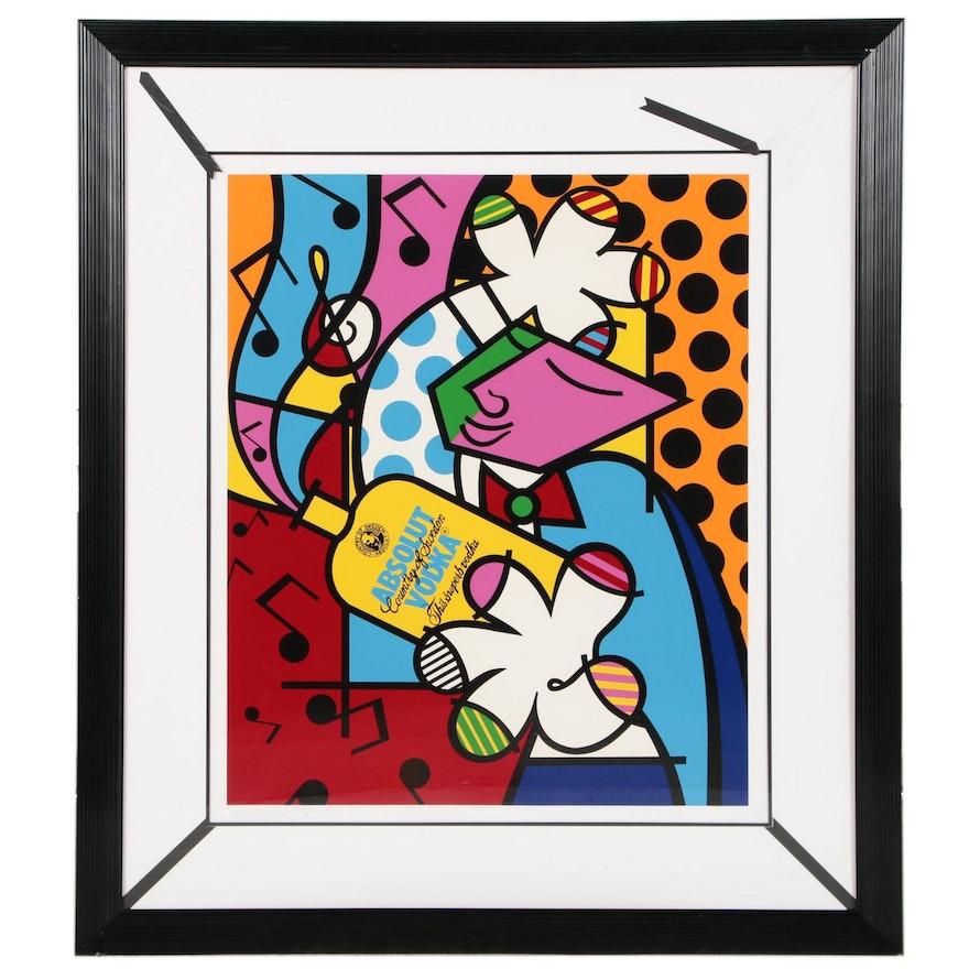 """Romero Britto Pop Art Serigraph """"Absolut Britto II"""""""