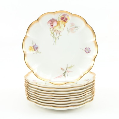 George Jones & Sons Floral Bone China Salad Plates, 1892