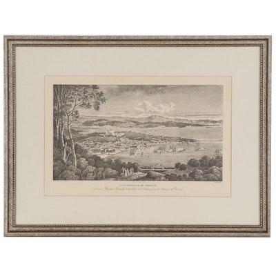 """Lithograph after Desmaisons Cassas """"Vue générale de Trieste; De son Port, du..."""""""