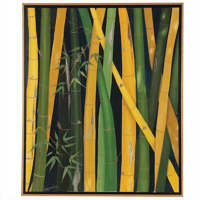 Modern Bamboo Acrylic Painting