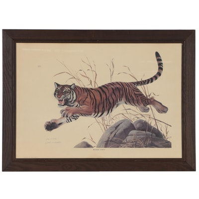 "John Ruthven Offset Lithograph ""Bengal Tiger"", 1968"