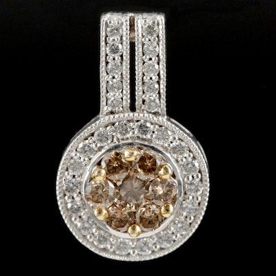 14K White Gold Brown Diamond Pendant with Diamond Halo
