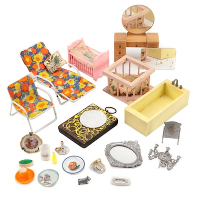 Miniature Dollhouse Furniture and Accessories, Mid to Late 20th Century
