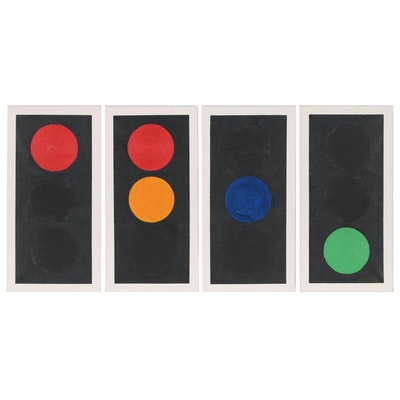 """Nicholas Stevenson Quadtych Acrylic Painting """"Out of Sequence"""", 2005"""