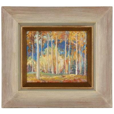 "Hellä Broeske-Shattuck Oil Painting ""Time of Aspens, New Mexico"", 1960"