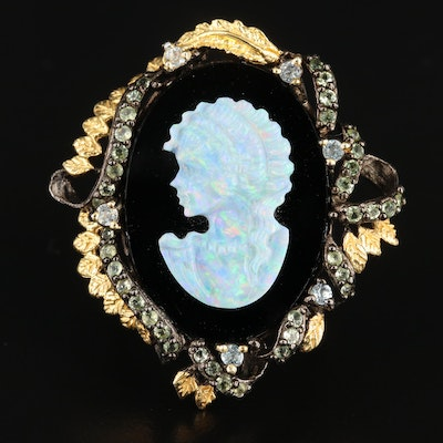 Sterling Carved Opal and Black Onyx Cameo Ring with Topaz and Prasiolite