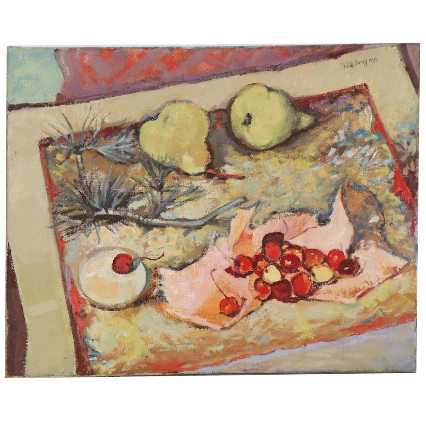 """Nita Begg Still Life Oil Painting """"Pears and Cherries"""", 1985"""