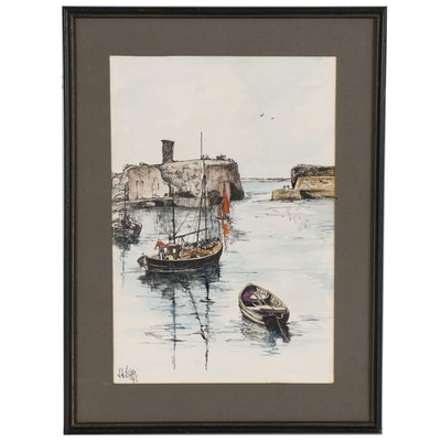 "Scottish Pen and Ink Drawing with Watercolor Paint ""The Harbor"""