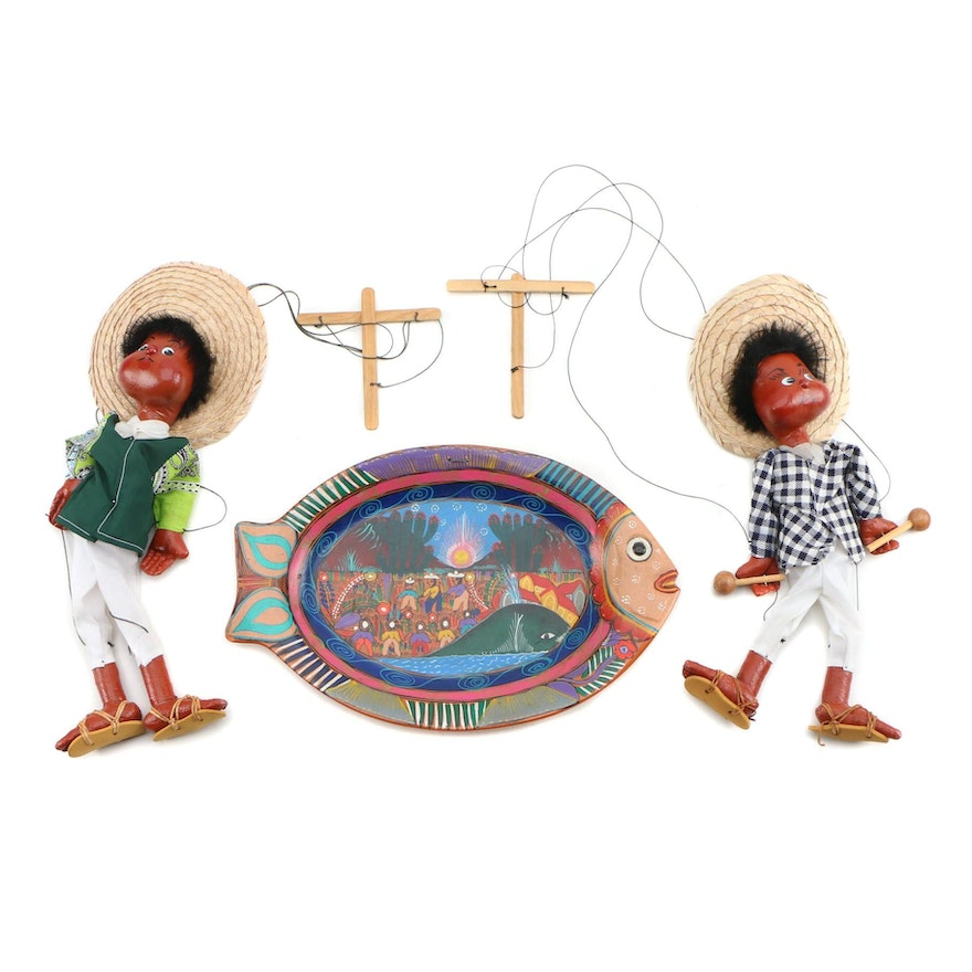 Hand-Painted Tourist Terracotta Wall Platter and Marionettes