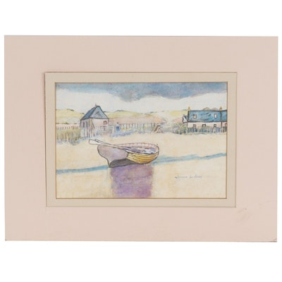 James L. Begg Watercolor Painting of a Rowboat