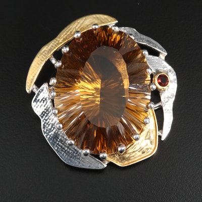 Sterling Silver 94.28 CT Fantasy Cut Citrine Pendant