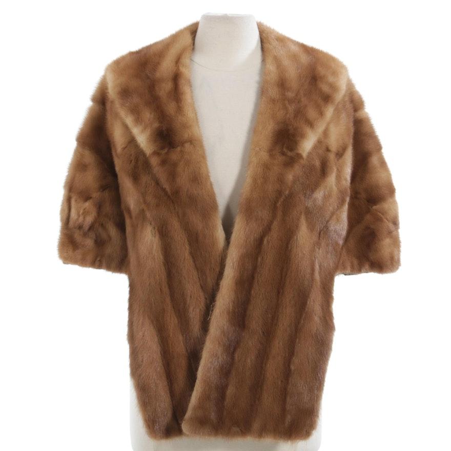 Dawn Mink Fur Stole with Shawl Collar, Vintage