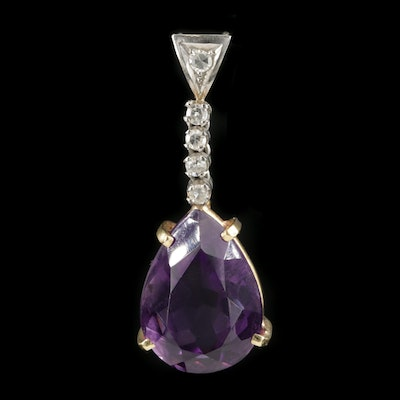 18K Yellow Gold Amethyst and Diamond Drop Pendant with Platinum Accent