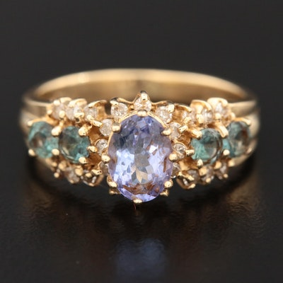 14K Yellow Gold Tanzanite, Topaz and Diamond Ring