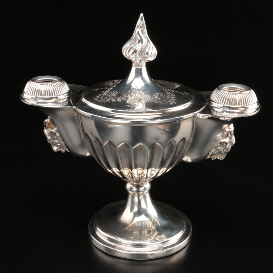 English Silver Plate Candelabra or Oil Lamp Base, 19th Century